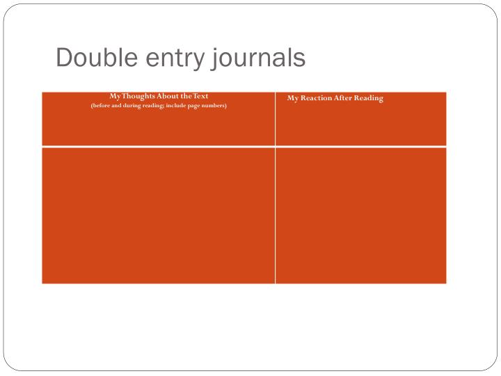 Double entry journals