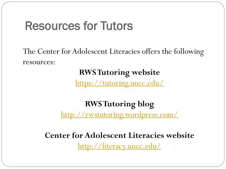 Resources for Tutors