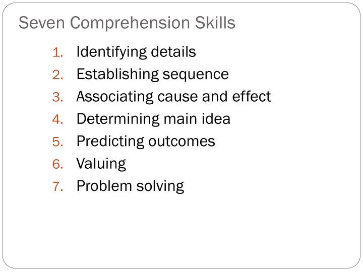 Seven Comprehension Skills