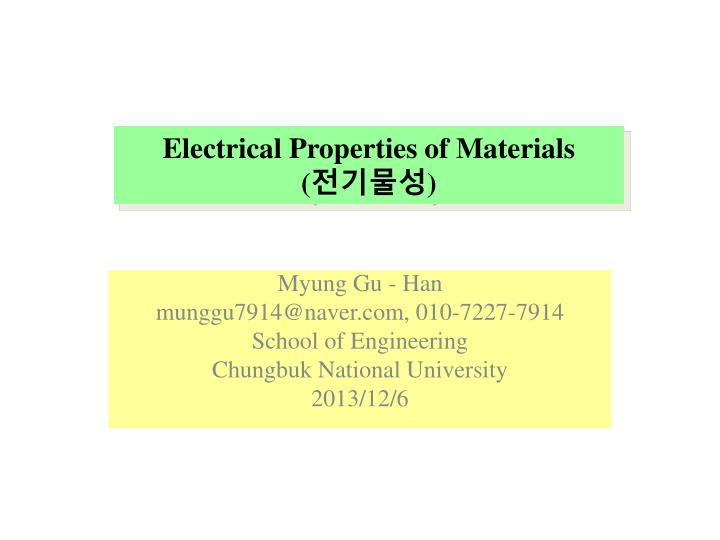 electrical properties of materials n.
