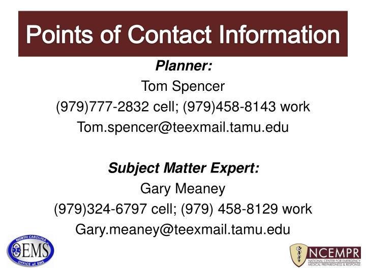 Points of Contact Information