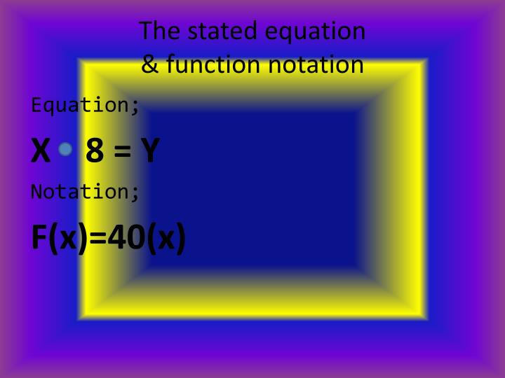 The stated equation