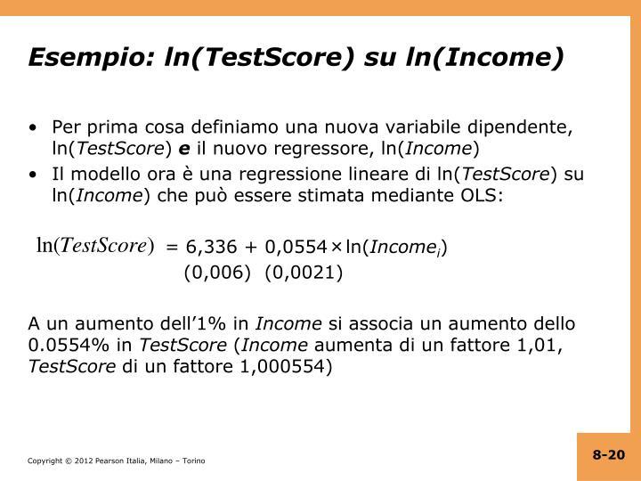 Esempio: ln(TestScore) su ln(Income)