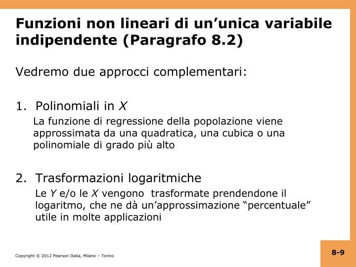 Funzioni non lineari di un'unica variabile indipendente (Paragrafo 8.2)