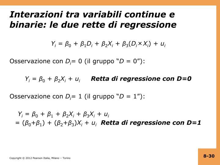 Interazioni tra variabili continue e binarie: le due rette di regressione