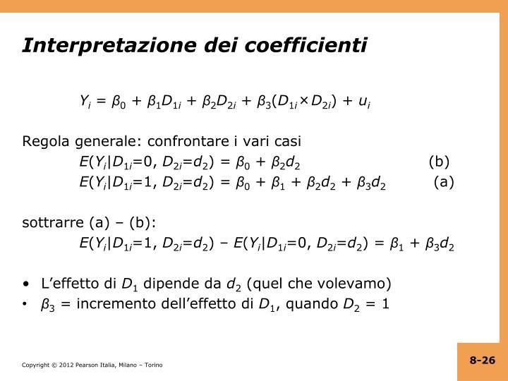 Interpretazione dei coefficienti