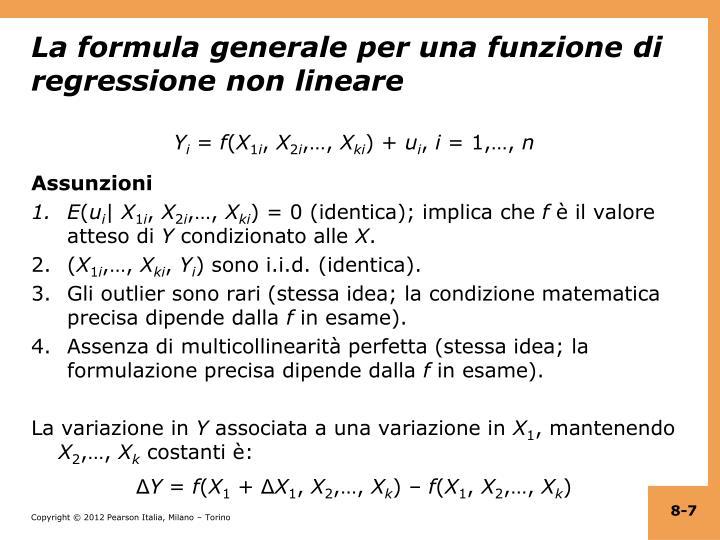 La formula generale per una funzione di regressione non lineare