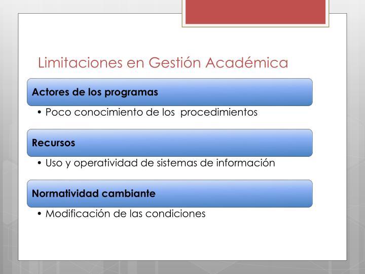 Limitaciones en Gestión Académica