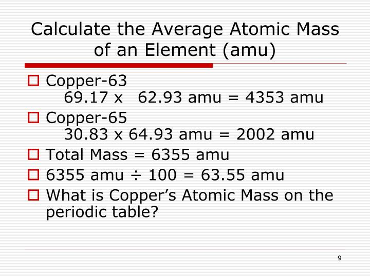 Ppt average atomic mass powerpoint presentation id3166603 calculate the average atomic mass of an element amu urtaz Images