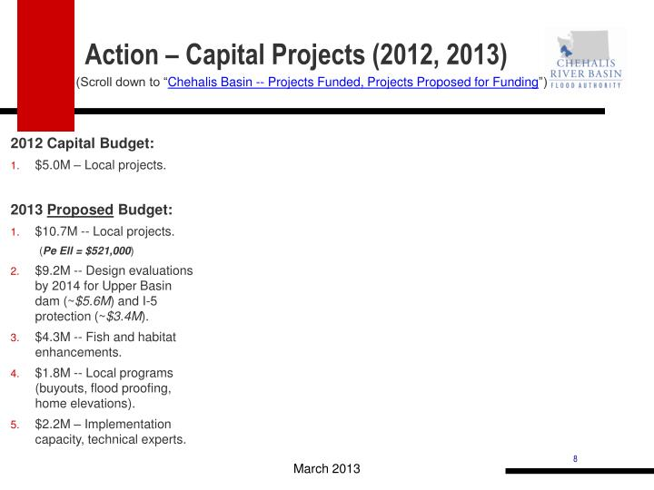 Action – Capital Projects (2012, 2013)