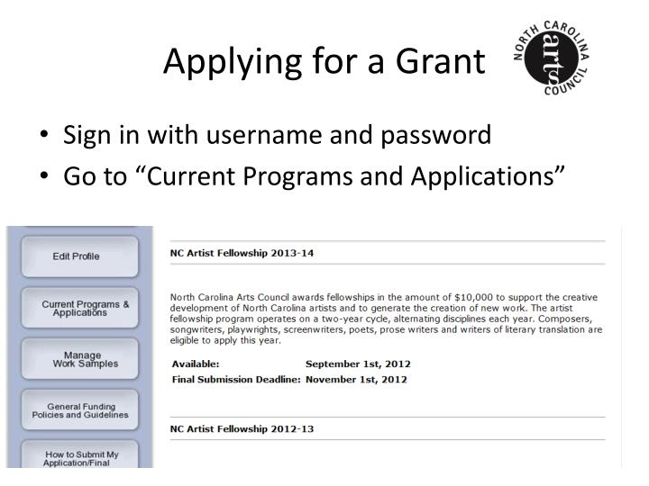 Applying for a Grant