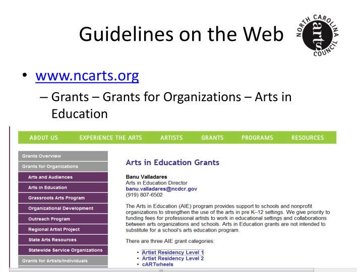 Guidelines on the web