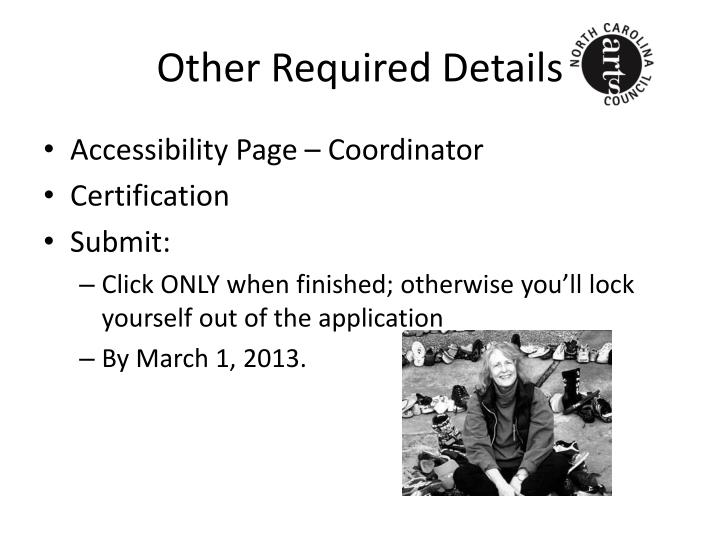 Other Required Details