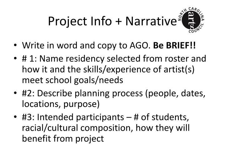 Project Info + Narrative