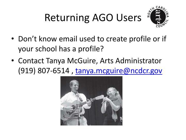 Returning AGO Users
