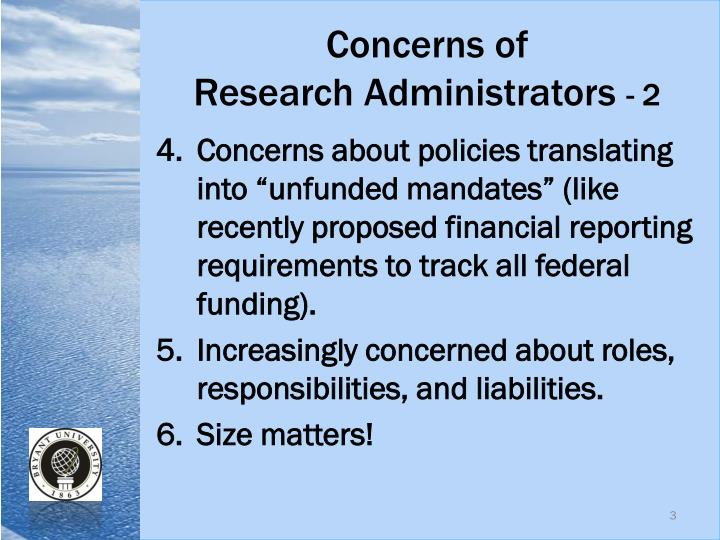 Concerns of research administrators 2