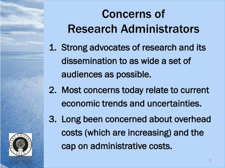 Concerns of research administrators