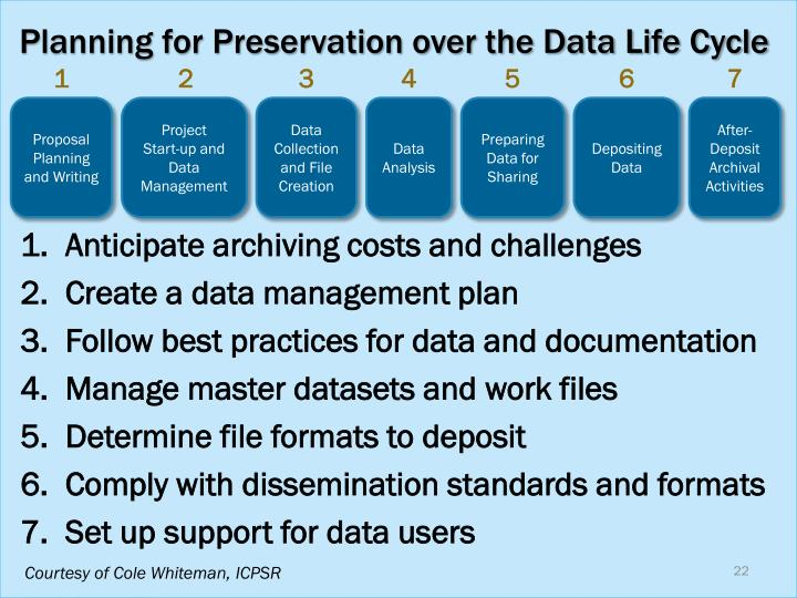 Planning for Preservation over the Data Life Cycle