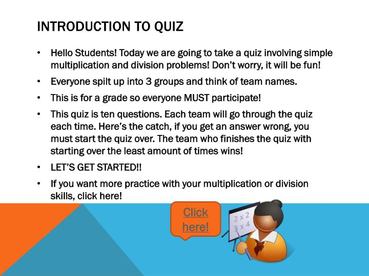 Introduction to quiz