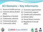 sci domains key informants