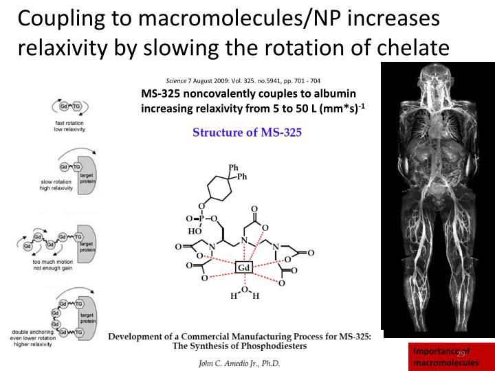 Coupling to macromolecules/NP increases