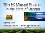 title i c migrant program in the state of oregon
