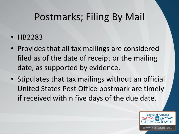 Postmarks; Filing By Mail