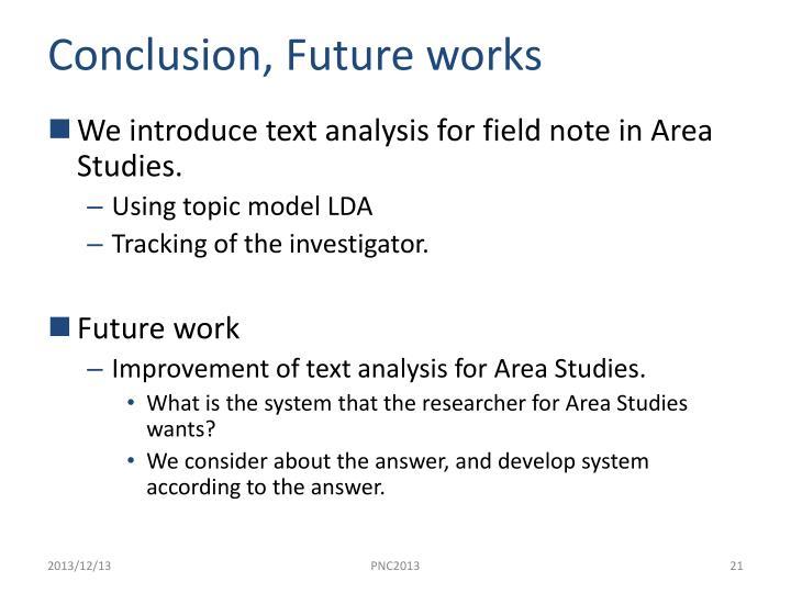 Conclusion, Future works