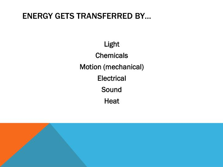 Energy gets transferred by…