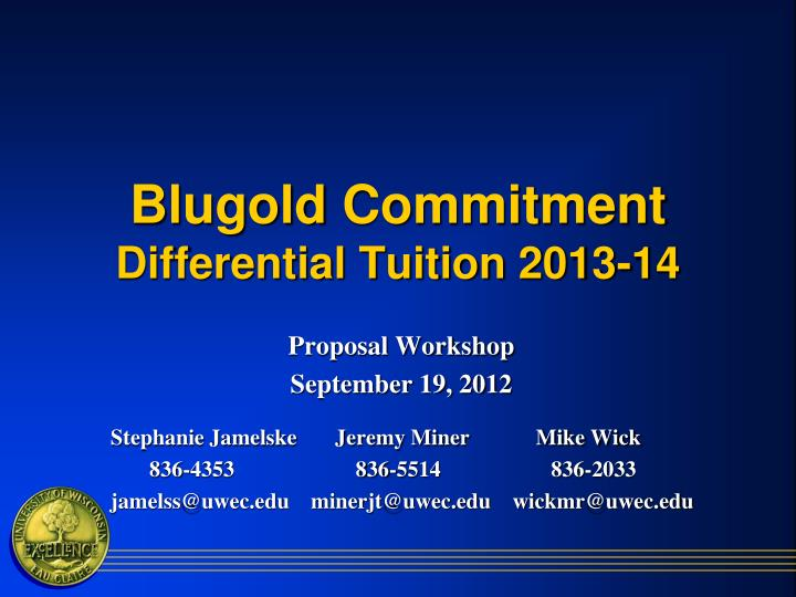 Blugold commitment differential tuition 2013 14