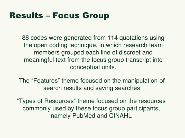 Results – Focus Group