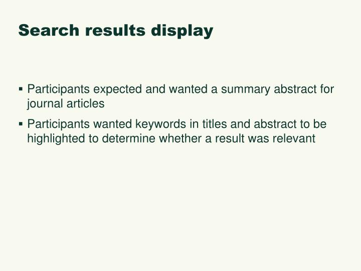 Search results display