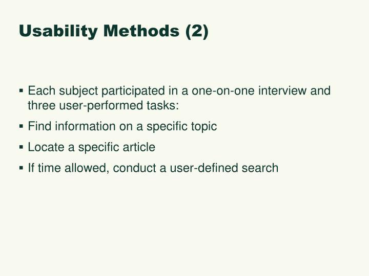 Usability Methods (2)