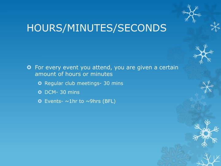 HOURS/MINUTES/SECONDS