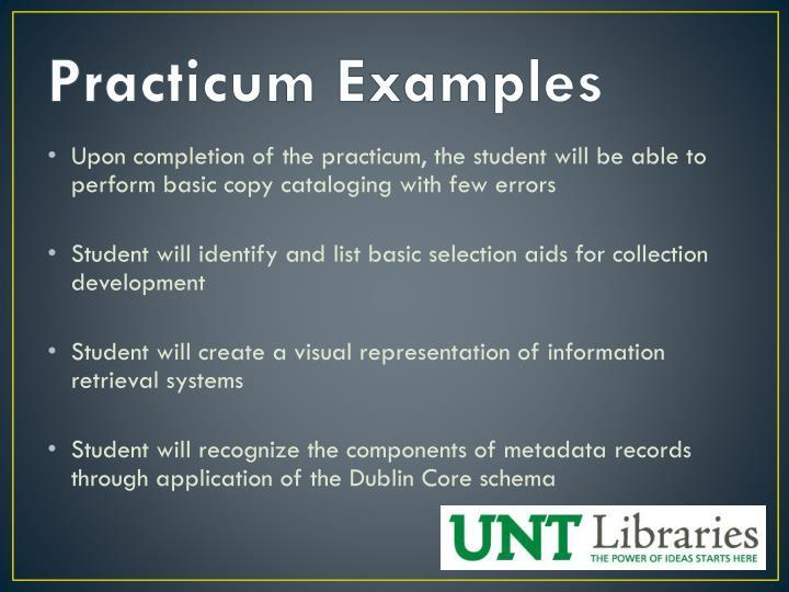 Practicum Examples