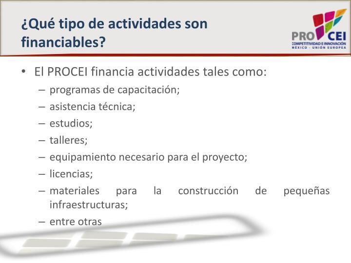 ¿Qué tipo de actividades son financiables?