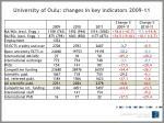 university of oulu changes in key indicators 2009 11