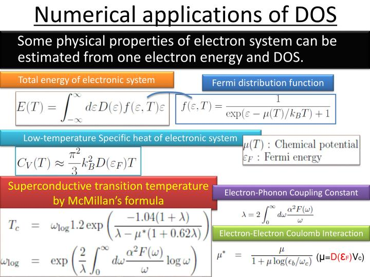 Numerical applications of DOS