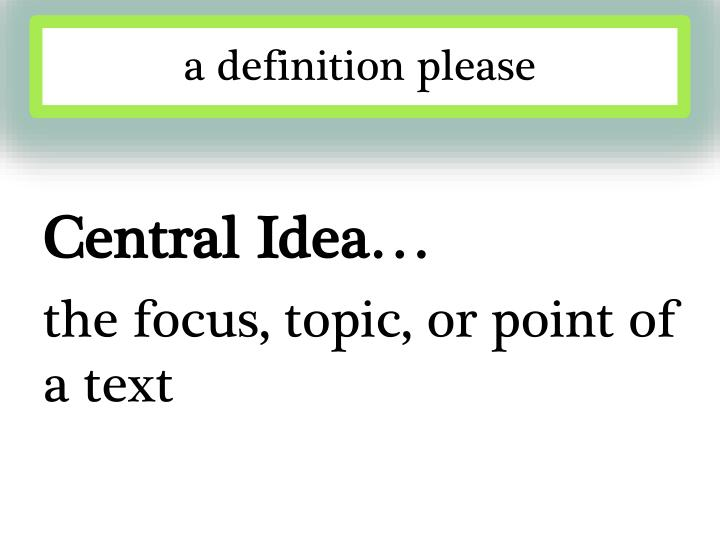 a definition please