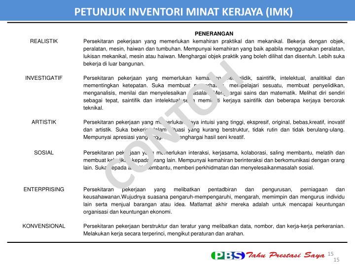 PETUNJUK INVENTORI MINAT KERJAYA (IMK)