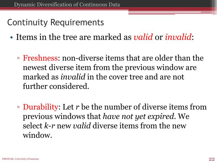 Continuity Requirements