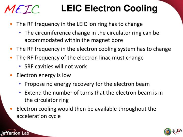 LEIC Electron Cooling
