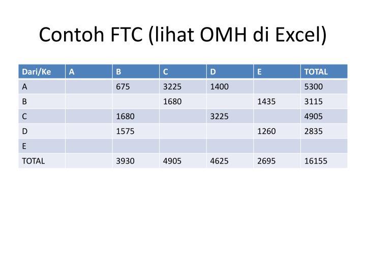 Contoh FTC (lihat OMH di Excel)