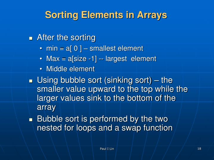 Sorting Elements in Arrays