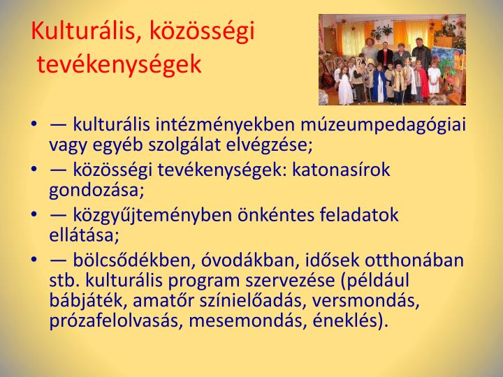 Kulturális, közösségi