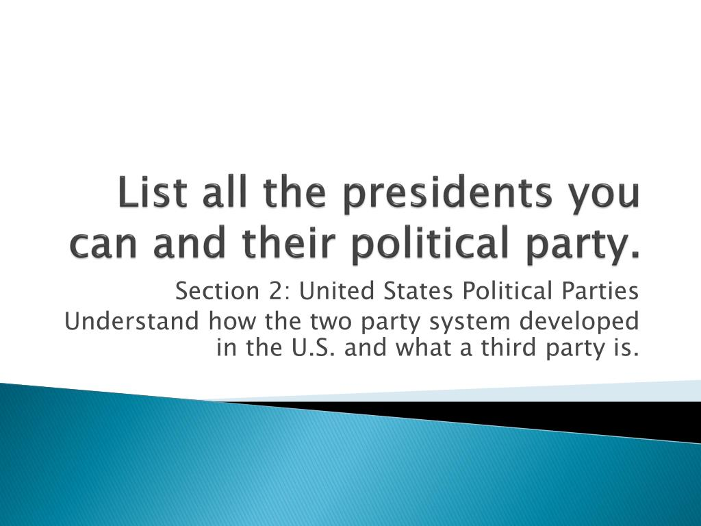 Ppt List All The Presidents You Can And Their Political Party Powerpoint Presentation Id 3170459