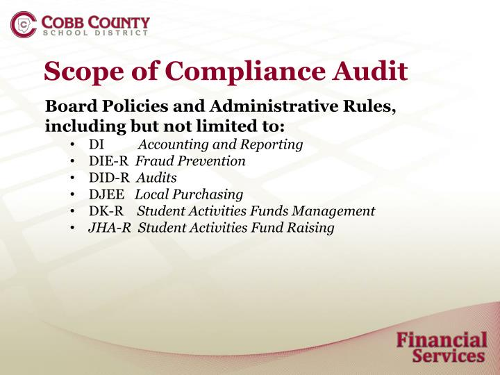Scope of Compliance Audit