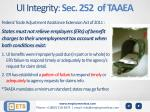 ui integrity sec 252 of taaea