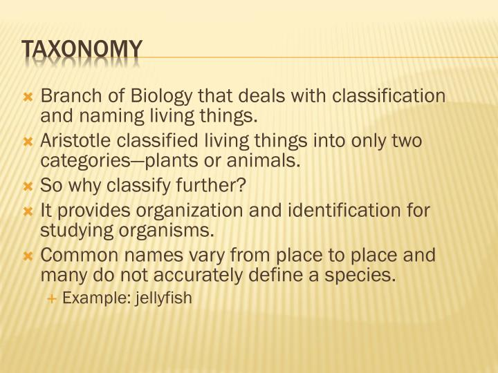 Branch of Biology that deals with classification and naming living things.