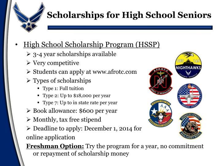 Scholarships for high school seniors 2014